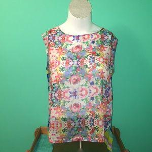 Daisy Fuentes- sheer, sleeveless, blouse. Sz. L